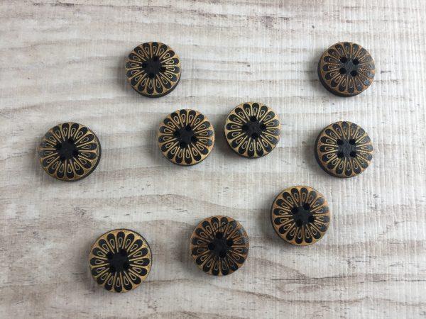 Puinen nappi: Sininen kultakuviolla 15mm