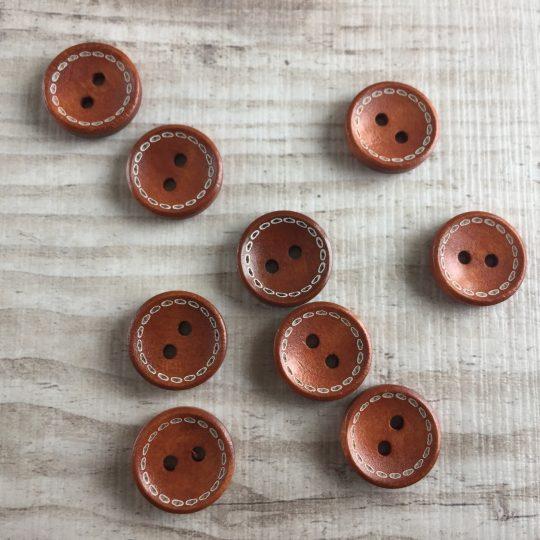Puinen nappi: Ruskea kuviolla 15mm